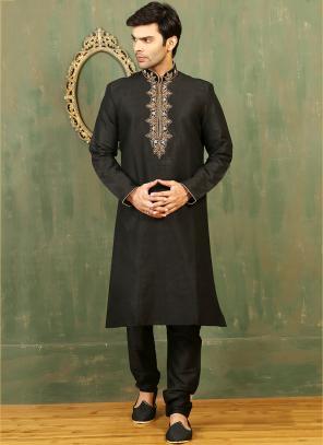 Festival Wear Black Art Silk Embroidered Work Kurta Pajama