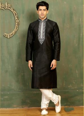 Festival Wear Black Art Silk Embroidered Work Kurta Pajama