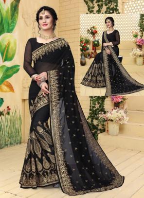 Festival Wear Black Georgette Embroidery Work Saree