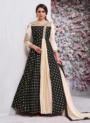 Festival Wear Black Silk Zari Butti Work Anarkali Style