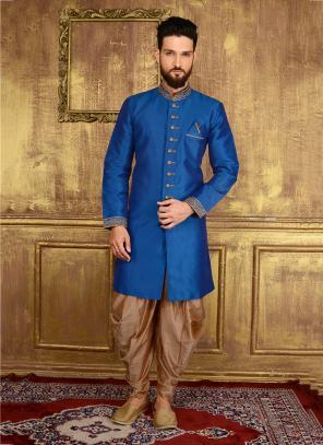 Festival Wear Blue Banarasi Silk Embroidery Work Sherwani