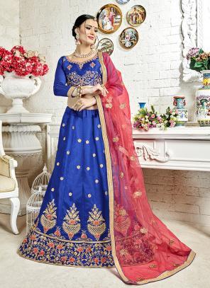 Festival Wear Blue Banglori Silk Embroidery Work Lehenga Choli
