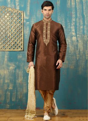 Festival Wear Brown Art Silk Embroidered Work Kurta Pajama