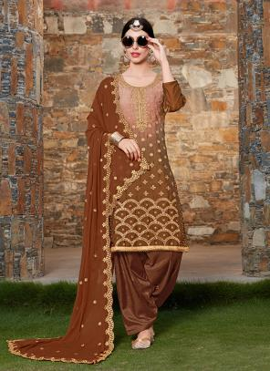 Festival Wear Brown Rangoli Machine Work Patiala Suit