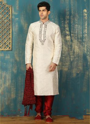 Festival Wear Cream Art Silk Embroidered Work Kurta Pajama