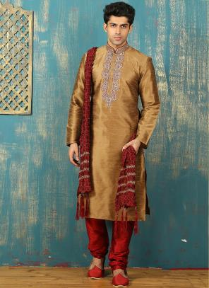 Festival Wear Golden Art Silk Embroidered Work Kurta Pajama