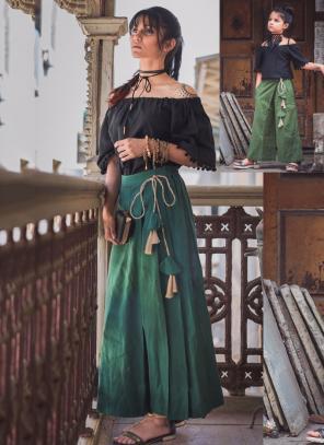 Festival Wear Green Khadi Patch Work Western Top