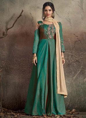 Festival Wear Green Tapeta Silk Embroidery Work Gown