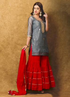 Festival Wear Grey Chanderi Gota Patti Work Sharara
