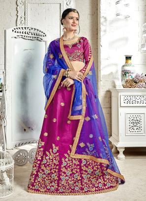 Festival Wear Magenta Banglori Silk Embroidery Work Lehenga Choli