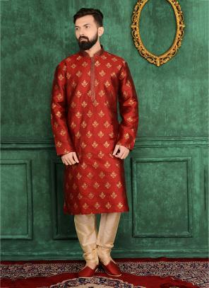 Festival Wear Maroon Jacqaurd Silk Lace Work Kurta Pajama