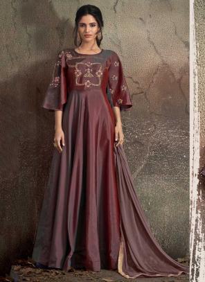 Festival Wear Maroon Tapeta Silk Embroidery Work Gown