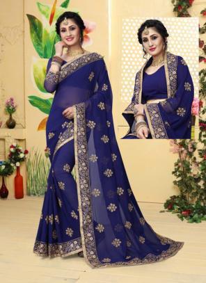 Festival Wear Navy Blue Georgette Embroidery Work Saree