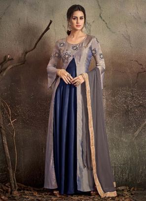 Festival Wear Navy Blue Tapeta Silk Embroidery Work Gown