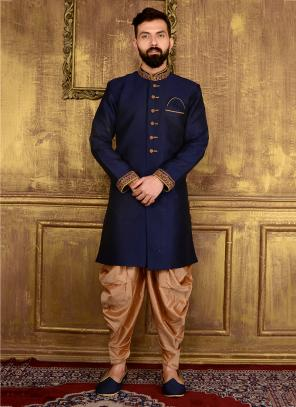 Festival Wear Neavy Blue Banarasi Silk Embroidery Work Sherwani