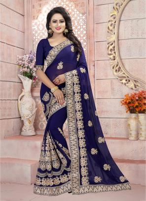 Festival Wear Neavy Blue Georgette Coding Embroidery Work Saree