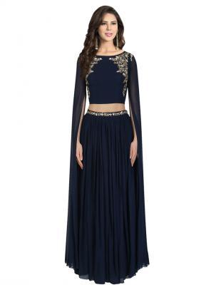 Festival Wear Neavy Blue Georgette Sequins Work Prathyusha Garimella Designer Crop Top With Long Lehenga