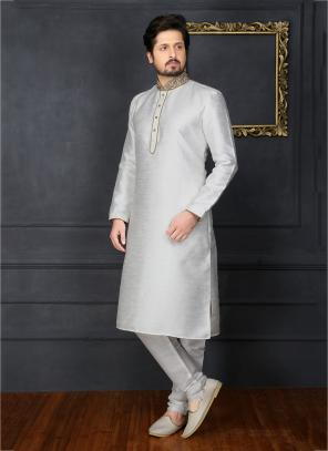 Festival Wear Off White Banarasi Silk Embroidery Work Sherwani Style