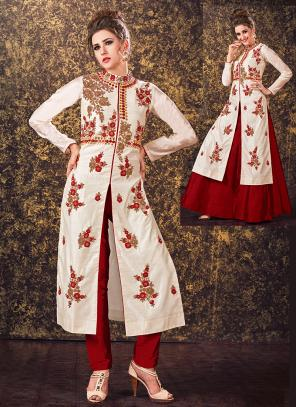 Festival Wear Off White Tapeta Silk Hand Work Designer Salwar Suit