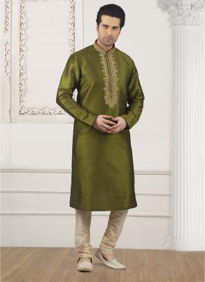 Festival Wear Olive Green Banarasi Silk Embroidery Work Kurta Pajama