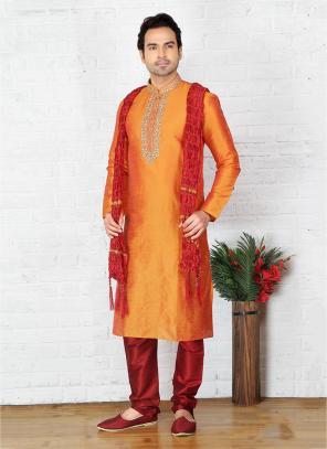 Art Silk Embroidery Work Festival Wear Orange Sherwani Style