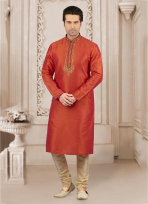 Festival Wear Orange Banarasi Silk Embroidery Work Kurta Pajama