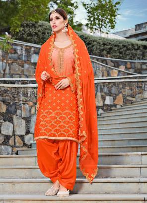 Festival Wear Orange Rangoli Machine Work Patiala Suit