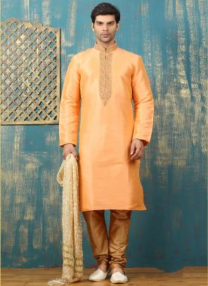 Festival Wear Peach Art Silk Embroidered Work Kurta Pajama
