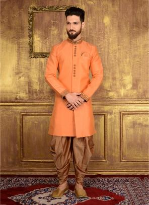Festival Wear Peach Banarasi Silk Embroidery Work Sherwani