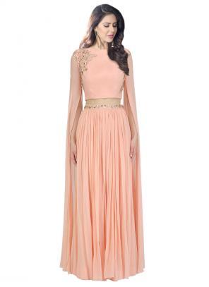 Festival Wear Peach Georgette Sequins Work Prathyusha Garimella Designer Crop Top With Lehenga Skirt