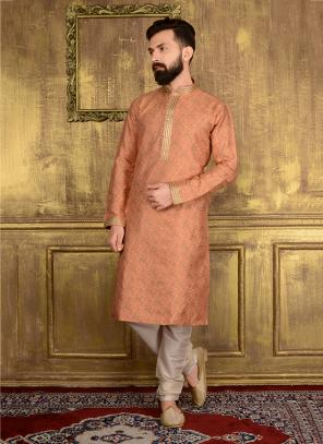 Festival Wear Peach Jacqaurd Silk Lace Work Kurta Pajama