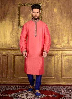 Festival Wear Pink Jacqaurd Silk Lace Work Kurta Pajama