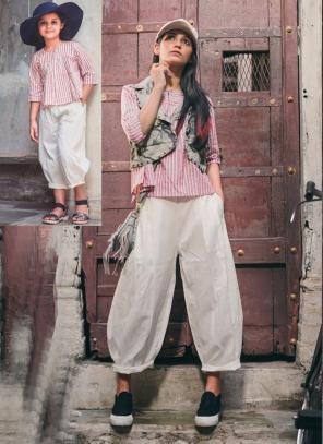 Festival Wear Pink Khadi Patch Work Western Top