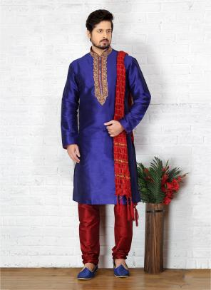 Festival Wear Purple Art Silk Embroidery Work Sherwani Style