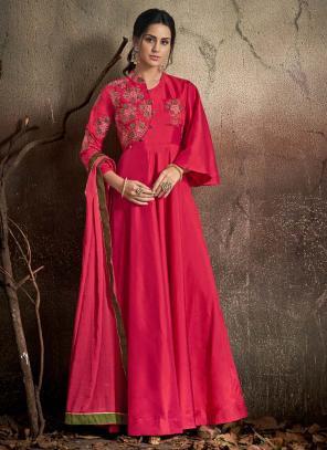 Festival Wear Rani Tapeta Silk Embroidery Work Gown