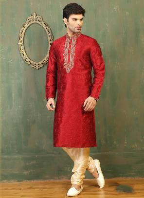 Festival Wear Red Art Silk Embroidered Work Kurta Pajama