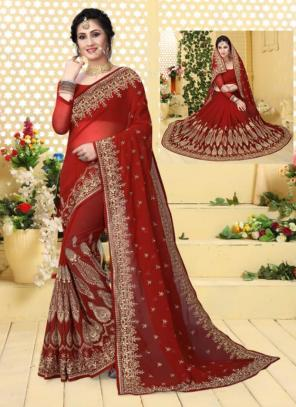 Festival Wear Red Georgette Embroidery Work Saree
