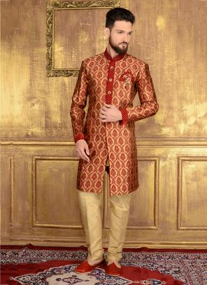 Festival Wear Red Jacqaurd Embroidery Work Sherwani