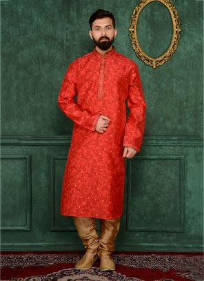 Festival Wear Red Jacqaurd Silk Lace Work Kurta Pajama