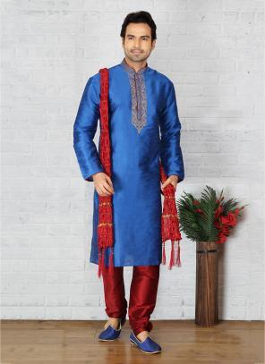 Festival Wear Latest Sky Blue Art Silk Embroidery Work Sherwani Style