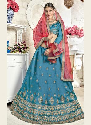 Festival Wear Sky Blue Banglori Silk Embroidery Work Lehenga Choli