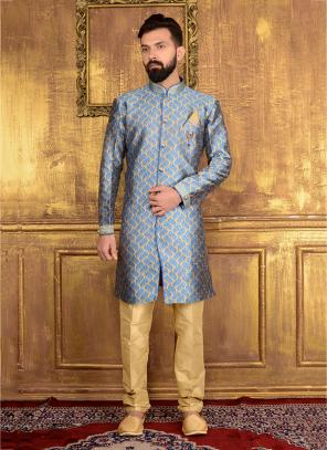 Festival Wear Sky Blue Jacqaurd Embroidery Work Sherwani