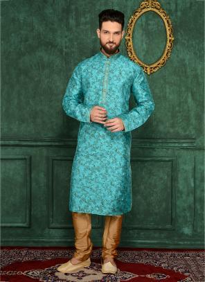 Festival Wear Sky Blue Jacqaurd Silk Lace Work Kurta Pajama
