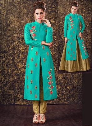 Festival Wear Teal Blue Tapeta Silk Hand Work Designer Salwar Suit