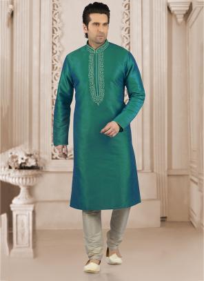 Festival Wear Teal Green Banarasi Silk Embroidery Work Kurta Pajama