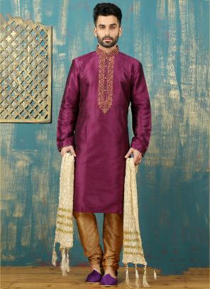 Festival Wear Violet Art Silk Embroidered Work Kurta Pajama