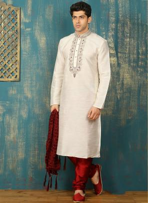 Festival Wear White Art Silk Embroidered Work Kurta Pajama