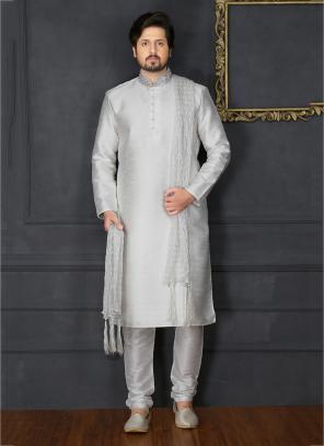 Festival Wear White Banarasi Silk Embroidery Work Sherwani Style