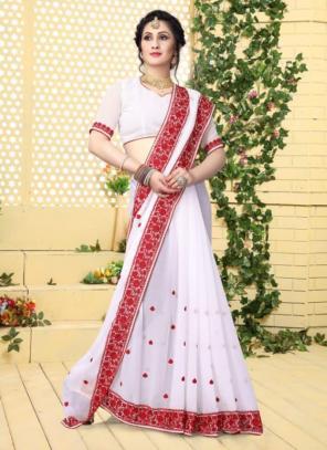 Festival Wear White Georgette Embroidery Work Saree