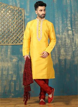 Festival Wear Yellow Art Silk Embroidered Work Kurta Pajama